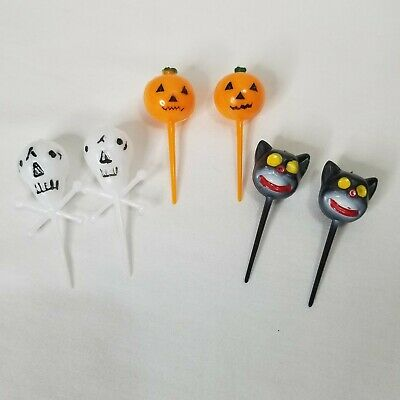$ CDN20.81 • Buy Vintage Halloween Cupcake Picks Black Cats Skulls Jack O Lanterns Lot Of 6