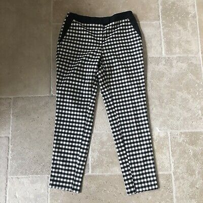 RIVER ISLAND Trousers 10 Checked Ginghan Black White Rockabilly Ankle Length • 15£