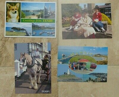 Set Of 4 Welsh Post Cards Tenby Mumbles Welsh National Costume • 4£
