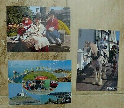 Set Of 3 Welsh Post Cards Tenby Mumbles Welsh National Costume • 3.50£