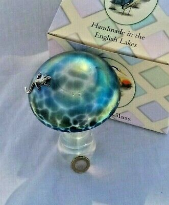 Heron Glass Giant Azure Mushroom With Large Lizard - Gift Box - Made In Cumbria • 38£