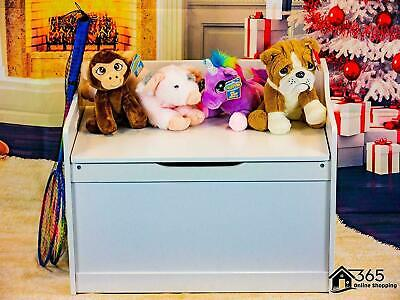 Kids Large Sided White Wooden Bench Toy Chest Organiser Storage Box Nursery Seat • 49.99£