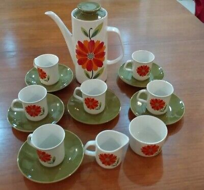 Vintage J&G Meakin Coffee Set, Rare 60s 70s Red & Orange Flowers With Dahlia Pot • 180£