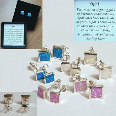 £11.99 • Buy Opal Square/Round Stud Earrings In Sterling Silver - Gift Boxed
