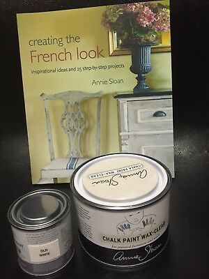Annie Sloan Paint -Old White 120ml Tin  + Tin Clear Wax + Annie Sloan Book • 38.75£