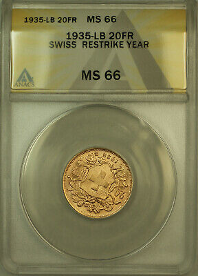 $474.50 • Buy 1935-LB Swiss 20 Francs Restrike Switzerland Gold Coin ANACS MS-66 (E)