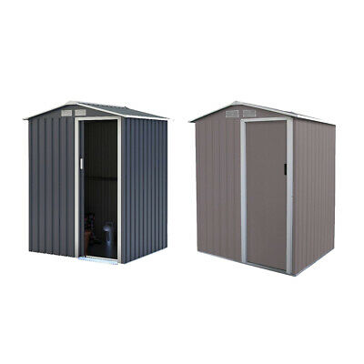 Charles Bentley Storage Shed In Grey Metal - Small Roof Door - H 186 X W 150 Cm • 149.99£