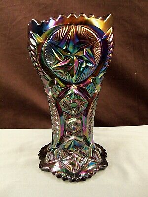 $34.99 • Buy Large L.E. Smith Black Carnival Glass Ohio Star Comet In The Stars Vase 9  Tall