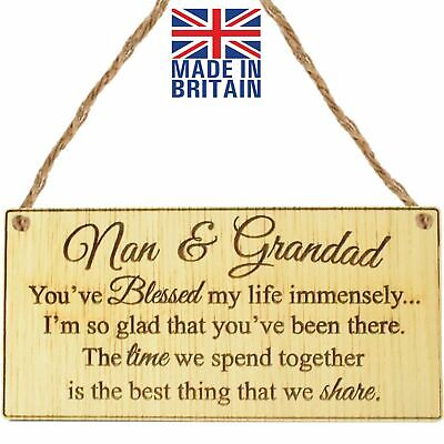 £3.99 • Buy Nan And Grandad Oak Hanging Plaque Grandparents Gift Sign Mothers Day Father Day