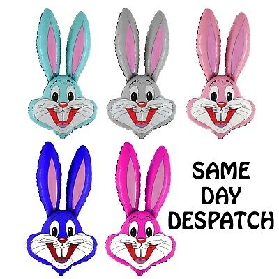 Large Easter Bunny Head 100cm Foil Kids Party Helium Or Air Balloon - 9 Colours • 3.99£