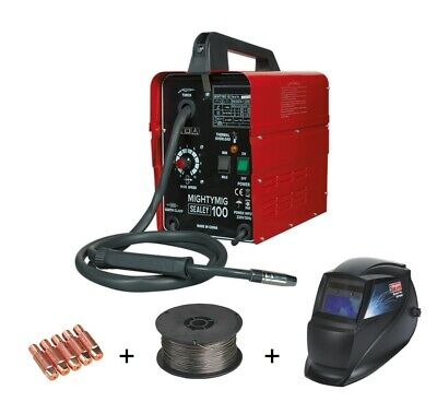 Sealey 100Amp No Gas / Gasless Mighty Mig Welder Flux Wire Tips Welding Mask • 179.95£