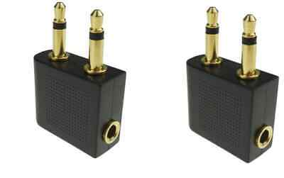 £5.50 • Buy 2Pcs Pro Airline Airplane Golden Plated Headphone Jack Plug Adapter Black +Gold.