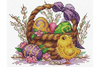 MP Studia Counted Cross Stitch Kit - Easter Basket Of  Eggs And Chick • 7.29£