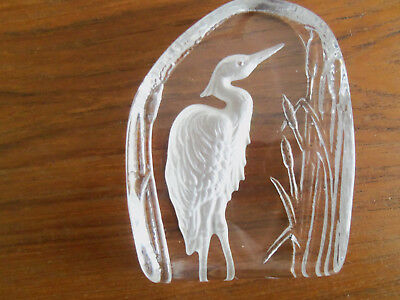 Beautiful Vintage Heavy Glass  Heron  Paperweight • 14.99£