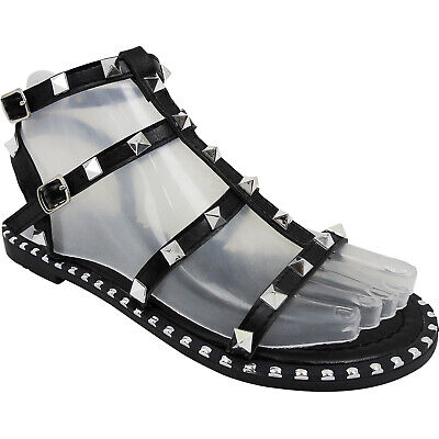 Womens Ladies Flat Gladiator Roman Studded Strappy Sandals Shoes Size Peep Toe • 11.95£