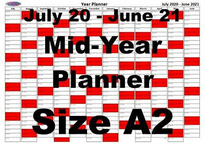 A2 Red Landscape Planner July 2020 - June 2021 Mid Year Wall Calendar • 3.99£