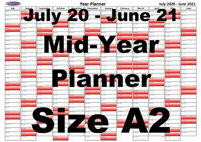 A2 Red Fade Wall Planner July 2020 - June 2021 Mid Year Wall Calendar • 3.99£