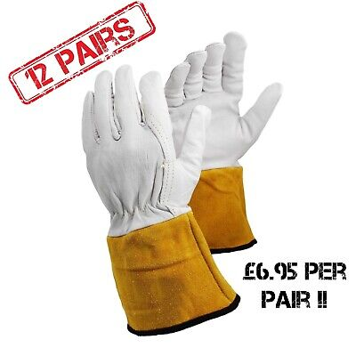 12Prs - ArmaDEX 130A TIG MIG Leather Welding Heat Resistant Work Gloves S M L XL • 94.95£