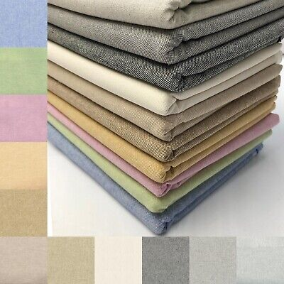 £10.50 • Buy Cotton Linen Look Fabric Plain Coloured Curtain Upholstery Craft Furnishings