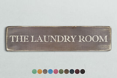 THE LAUNDRY ROOM Vintage Style Wooden Sign. Shabby Chic Retro Home Gift • 13.95£