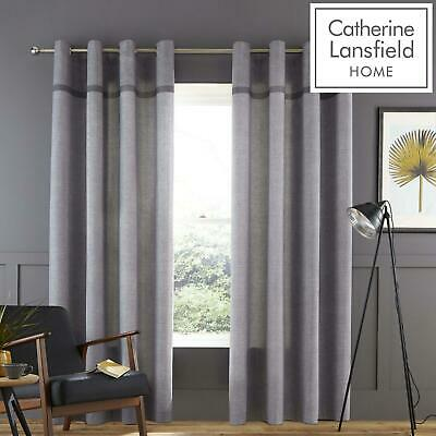 £22.95 • Buy Catherine Lansfield Melville Woven Grey Eyelet Curtains Ring Top Curtain Pairs