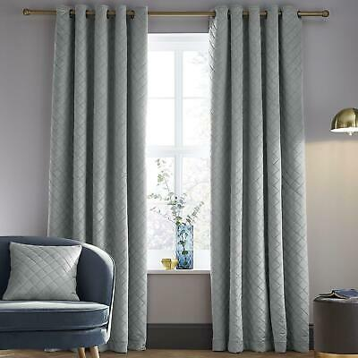 Catherine Lansfield Soft Luxe Velvet Grey Eyelet Curtains Ring Top Curtain Pairs • 67.40£