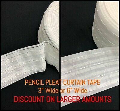 3  75mm/6  150mm Rufflette Curtain Pencil Pleat Header Tape - By The Metre • 1.25£