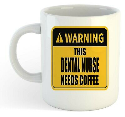 Warning - This Dental Nurse Needs Coffee White Mug, Gift, Work, Present • 8.49£