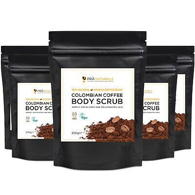 PraNaturals Colombian Coffee Beans Natural Body Scrub Anti-Cellulite Detox Packs • 5.99£