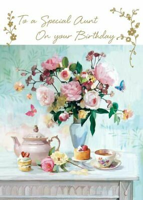 Birthday Card - Aunt - Beautiful Flowers - At Home Ling Design Quality NEW • 2.69£