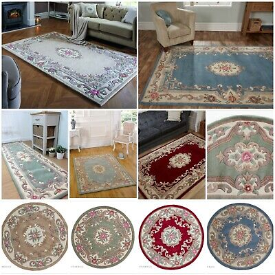 £46.95 • Buy Lotus Aubusson Premium Traditional Hand Tufted Soft Wool Rug & Runner & Round