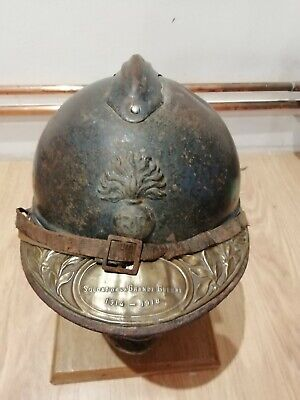 Original WW1 French Helmet With Name And Veterans Brass Plate 1914-1918 • 56£