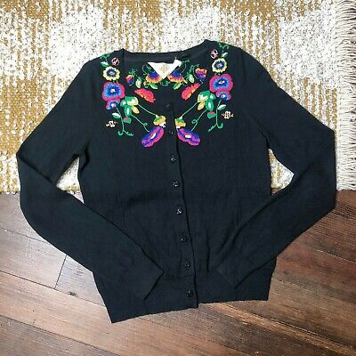 $ CDN39.76 • Buy Anthropologie Monogram Deva Cardigan Size Small Black Embroidered Floral Bees