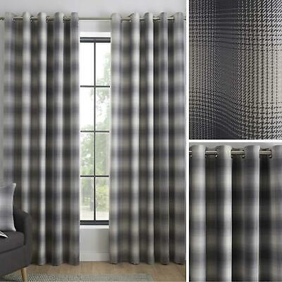 Grey Eyelet Curtains Tartan Check Ready Made Lined Modern Ring Top Curtain Pairs • 28.45£