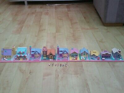 Vintage BLuebird Polly Pocket Houses Cafe Toy Shop And Pizza Shop X 10 • 40£