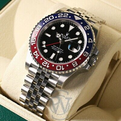 $ CDN25030.30 • Buy Rolex GMT-Master II Blue & Red Ceramic Bezel PEPSI 126710blro Complete Unworn