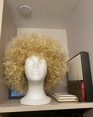 $20 • Buy Curly Blonde Afro Wig Highlights Heat Friendly *CUSTOM MADE* 1 Of 1