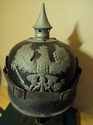 Ww1 1915 Pattern Other Ranks Pickelhaube Helmet Grey Fittings. • 185£