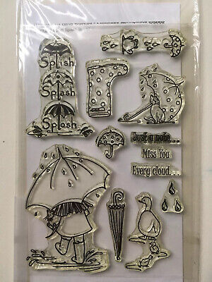 Woodware Splish Splash Clear Stamps Used • 4£