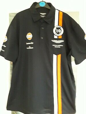 New Rare Aston Martin Racing 10th Anniversary Black  Polo Shirt Size Xxl  • 5.99£