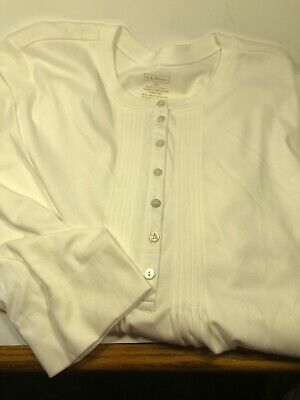 $19.99 • Buy L.L. Bean Supima Cotton Pintuck White 3/4 Sleeve Top Henley Button 1X Excellent
