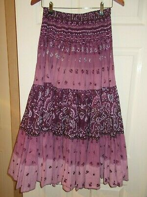 Phool Purple Gypsy Tiered Maxi Block Print Skirt 10 12 Beaded Ethnic Floral VGC • 14.99£