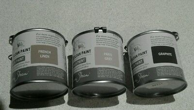 Annie Sloan Paint-3 X 120ml Tins-Graphite,FLinen, Paris Grey, Tin 120ml Dark Wax • 39.75£