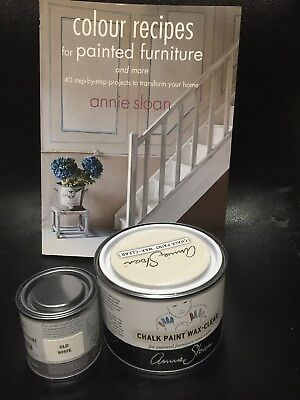 Annie Sloan Paint -1 X120ml Tin- Old White + Tin Of Clear Wax+ Annie Sloan Book. • 38.75£