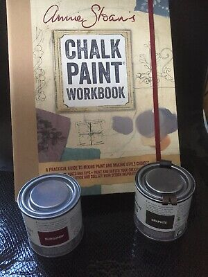 Annie Sloan Paint -2 X 120ml Tins- Graphite+ Burgundy + Annie Sloan Workbook • 34£