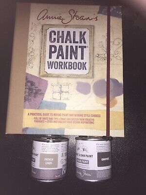 Annie Sloan Paint -2 X 120ml Tins- Graphite + French Linen + Annie's Work Book • 34£