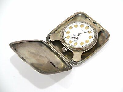 AU1291.87 • Buy 4 1/8 In - Sterling Silver Antique American 8-Day Windup Travel Clock W/ Alarm