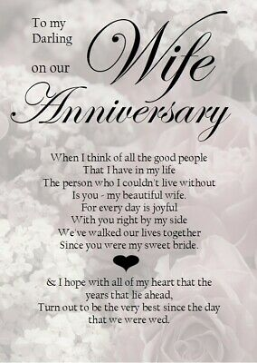 £3.99 • Buy NEW 'To My Darling Wife On Our Anniversary' A5 Card - Love Keepsake Memories