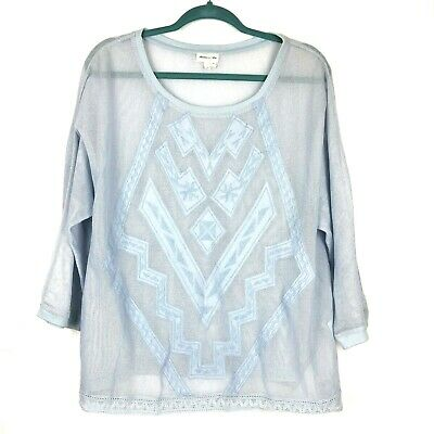 $ CDN31.67 • Buy Anthropologie Top Blue Embroidered Mesh Size XL Sheer Cotton Pullover Shirt Knit