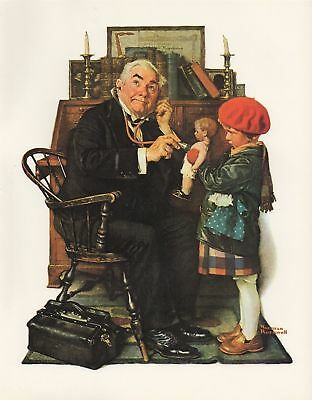 $ CDN6.38 • Buy   NORMAN ROCKWELL Print  DOCTOR AND DOLL  Little Girl Office Lithograph 8  X 10